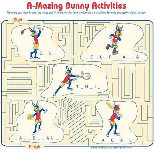a-mazing bunny activities sheet
