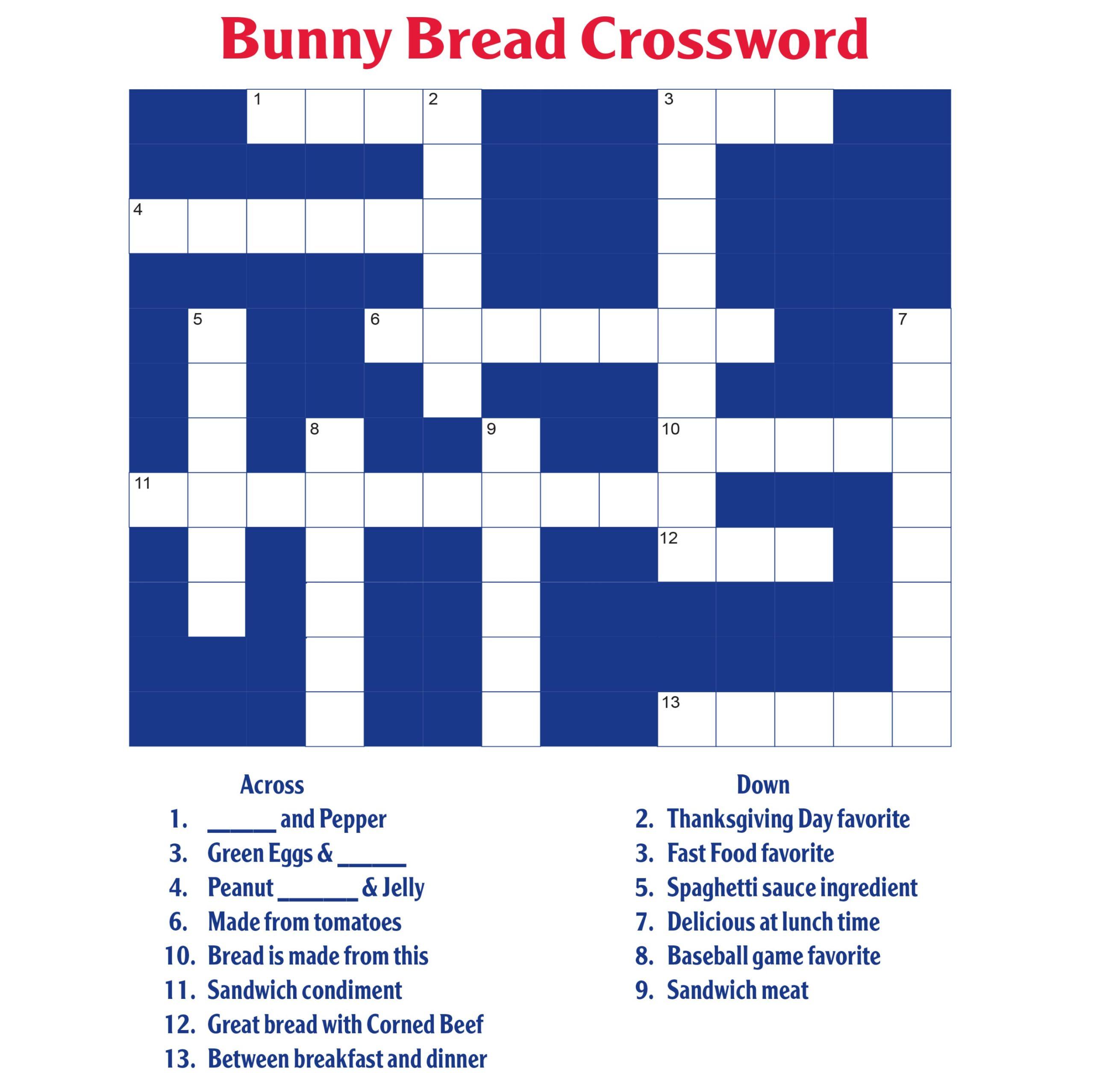 bunny crossword puzzle activity sheet