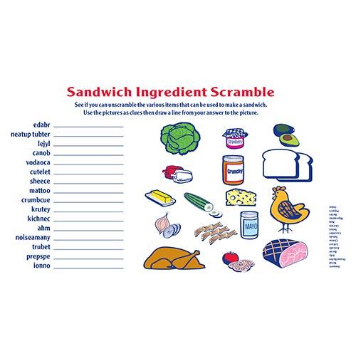 sandwich scramble activity sheet